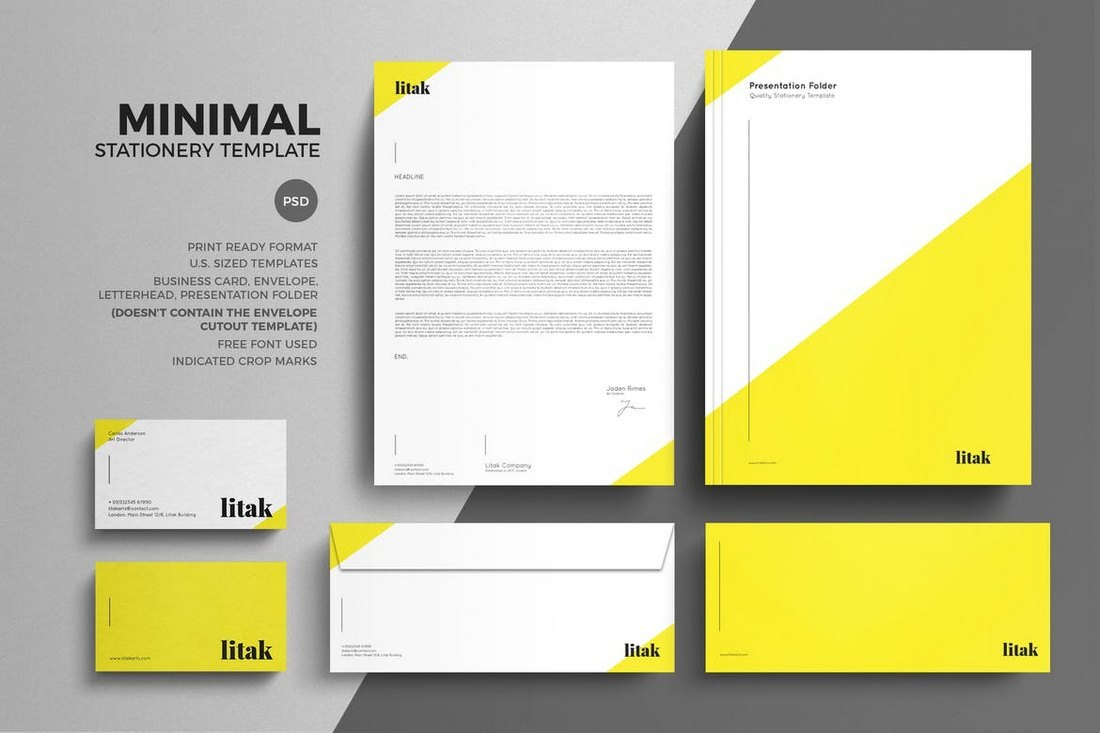 Modern Stationery Templates Regarding Business Card Letterhead Envelope Template