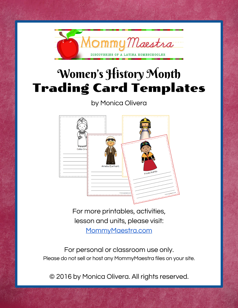 Mommy Maestra Free Download Women In World History Trading Cards Inside Free Trading Card Template Download