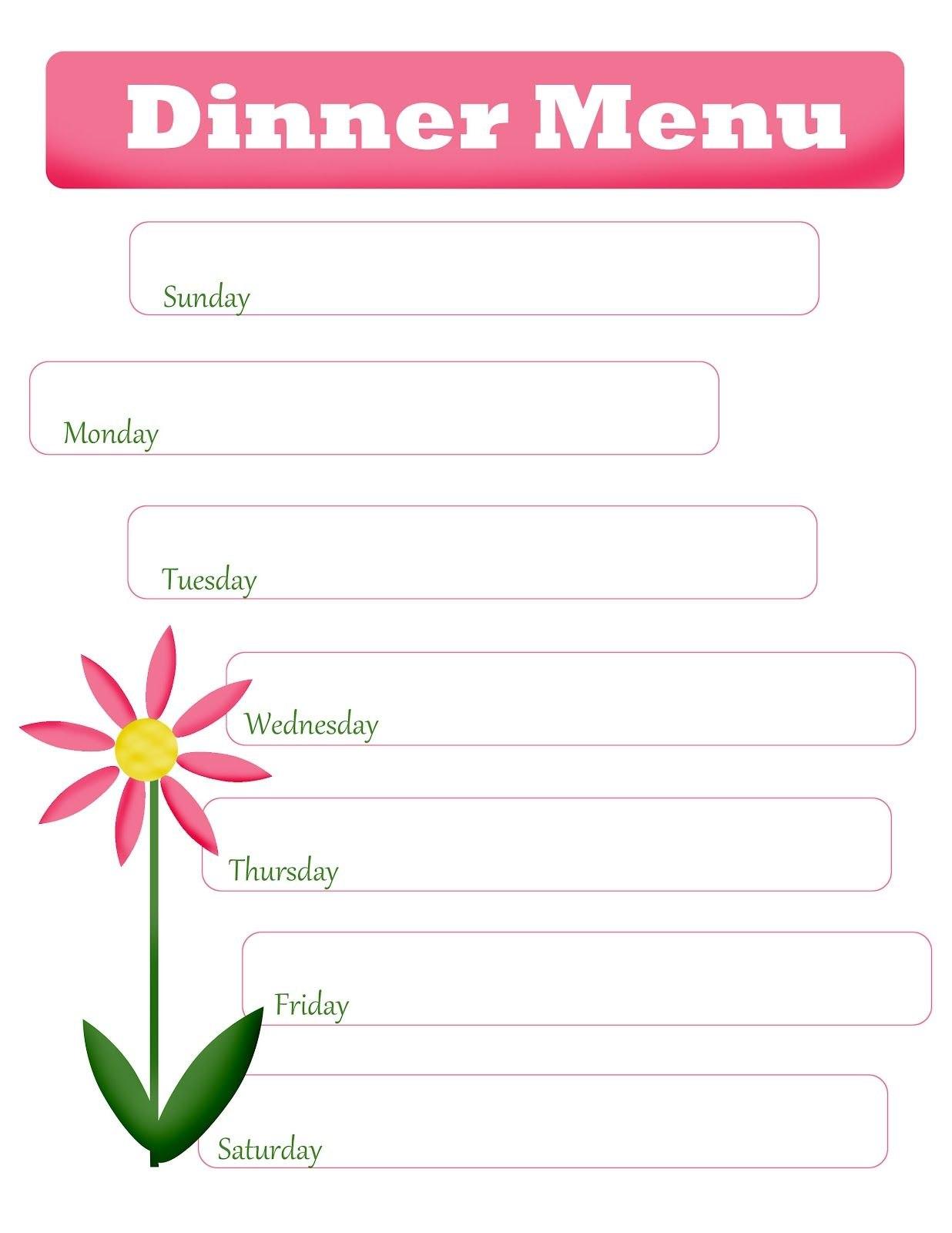 Mom's Menu Planning Free Printable Blank Dinner Menu  Spring With Blank Dinner Menu Template