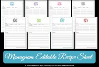Monogram Recipe Sheet Editable Recipe Card Preppy Template  Etsy for Fillable Recipe Card Template