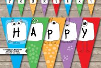 Monster Party Banner Template  Birthday Banner  Editable Bunting in Free Happy Birthday Banner Templates Download