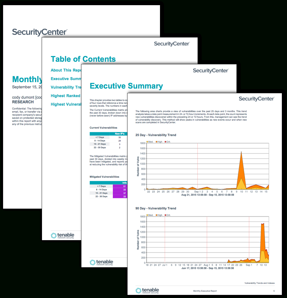 Monthly Executive Report  Sc Report Template  Tenable® Inside Nessus Report Templates