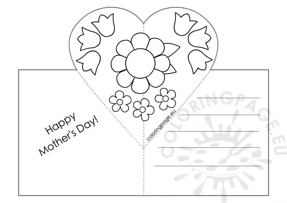 Mothers Day Card With Heart Popup Template – Coloring Page Regarding Pop Out Heart Card Template