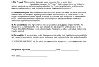 Movie Film Nondisclosure Agreement Nda Template  Eforms – Free regarding Non Disclosure Non Circumvention Agreement Template