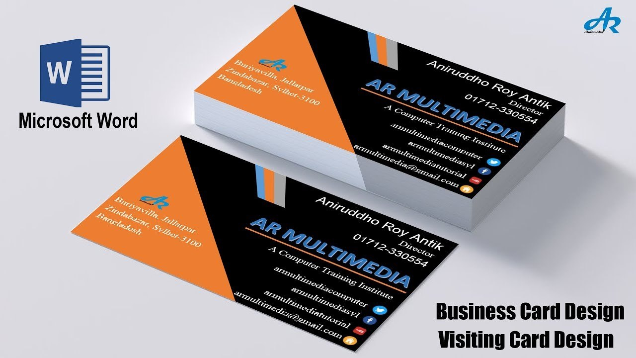 Ms Word Tutorial How To Create Professional Business Card Design In In Microsoft Templates For Business Cards