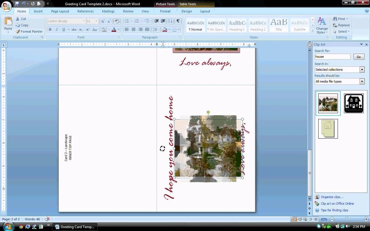 Ms Word Tutorial Part   Greeting Card Template Inserting And Throughout Microsoft Word Birthday Card Template