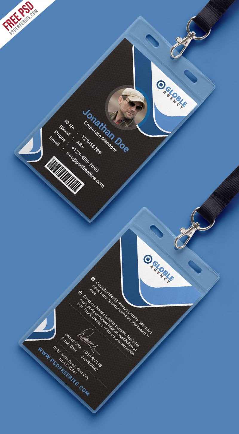 Multipurpose Dark Office Id Card Free Psd Template  Psd Print Throughout Template For Id Card Free Download