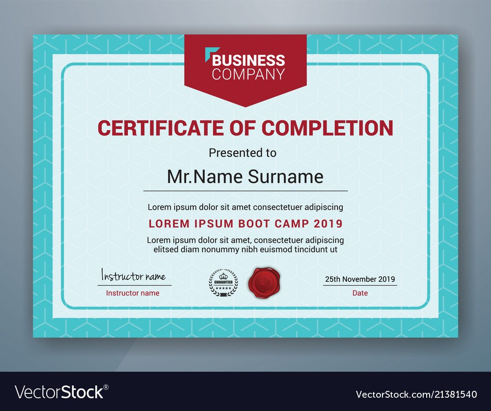 Multipurpose Professional Certificate Template Vector Image Pertaining To Boot Camp Certificate Template