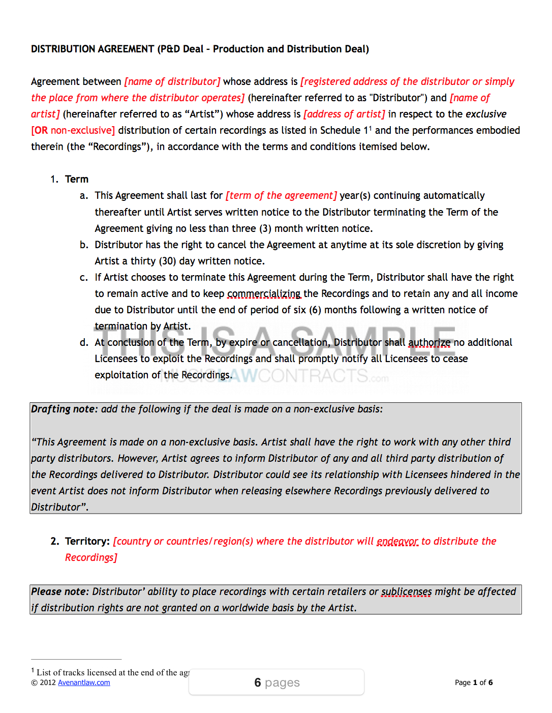 Music Distribution Contract Template For Exclusive Distribution Agreement Template Free