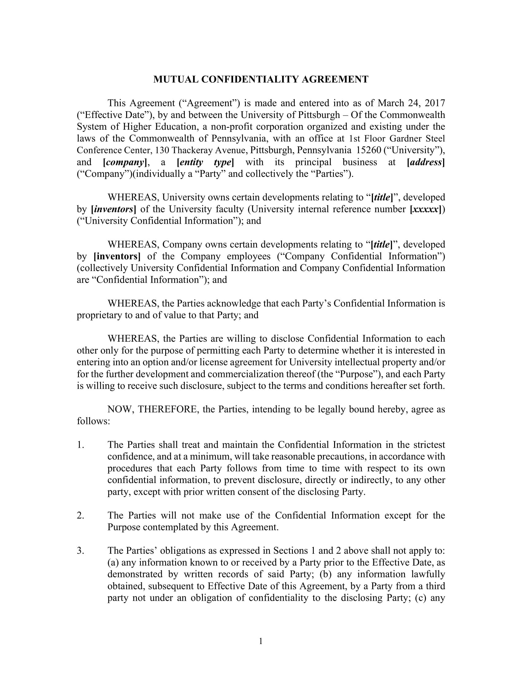 Mutual Confidentiality Agreement  Pdf Doc  Examples Intended For Mutual Confidentiality Agreement Template