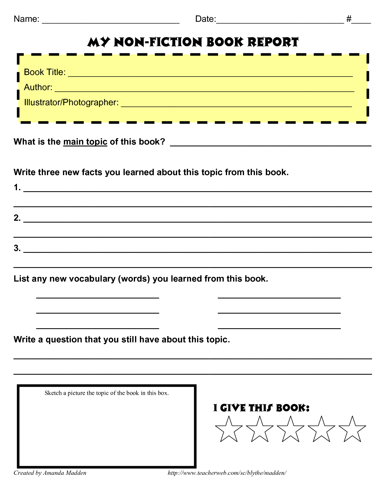 My Nonfiction Book Report …  Books  Reading Lists  Book … With Nonfiction Book Report Template