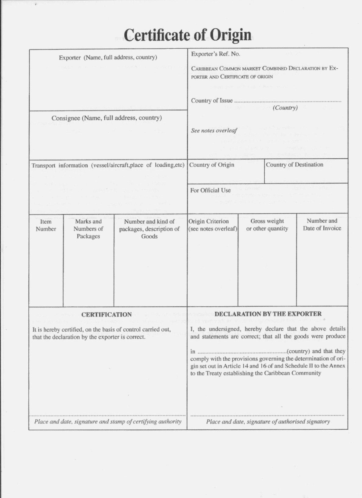 Nafta Certificate Of Origin Canada Basic Beautiful Nafta Template For Nafta Certificate Template