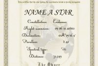 Name A Star For Free Certificate  Ace Cec Courses regarding Star Certificate Templates Free
