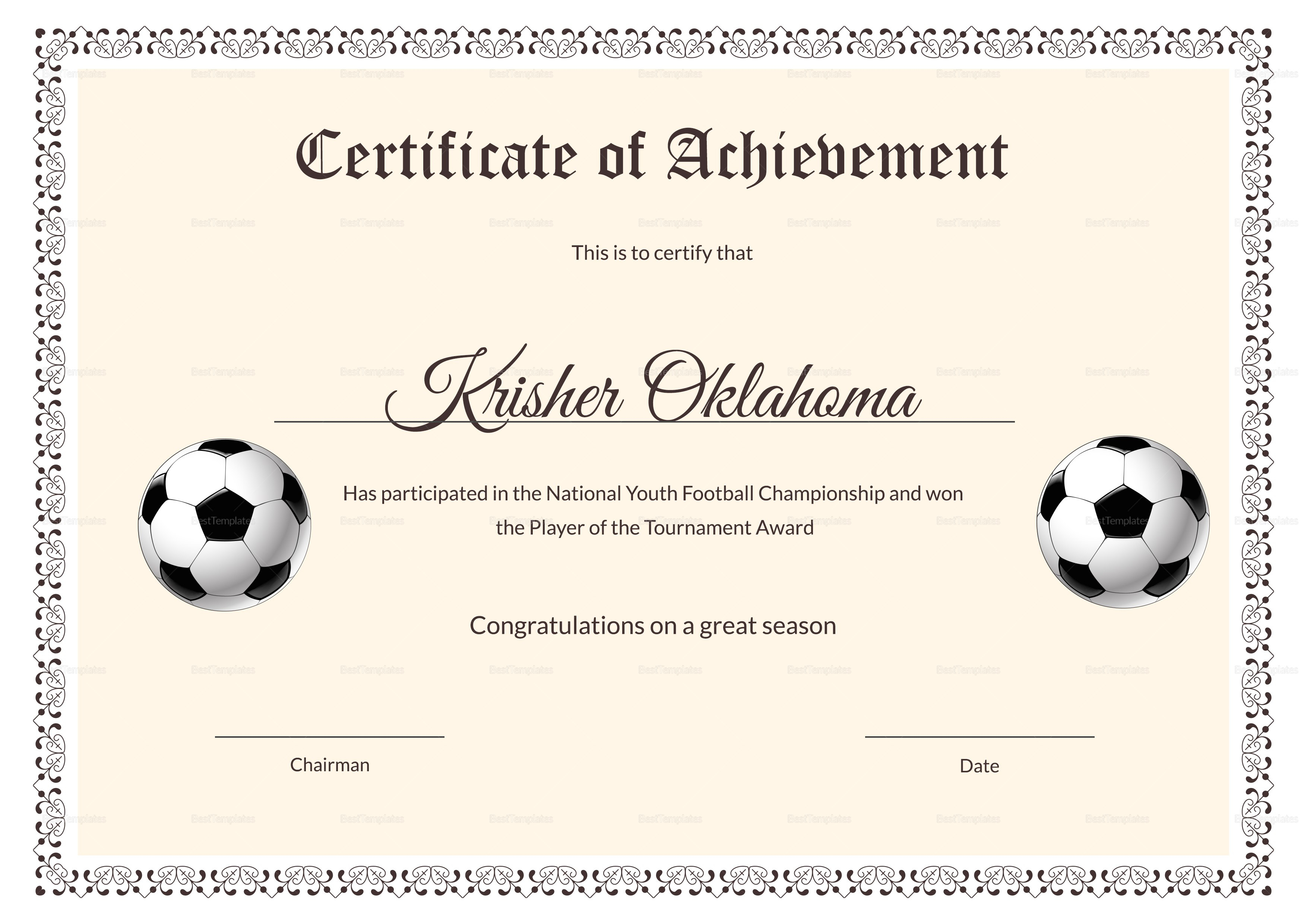 National Youth Football Certificate Design Template In Psd Word Regarding Football Certificate Template