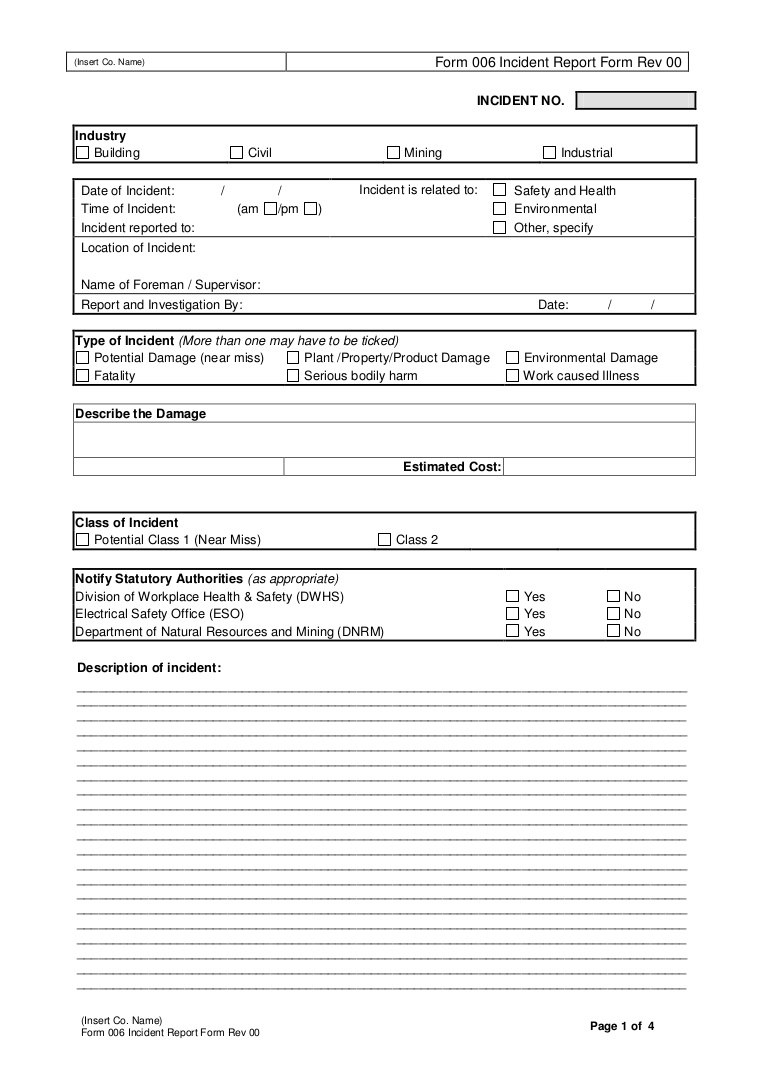 Near Miss Incident Report Template  Sansurabionetassociats For Near Miss Incident Report Template