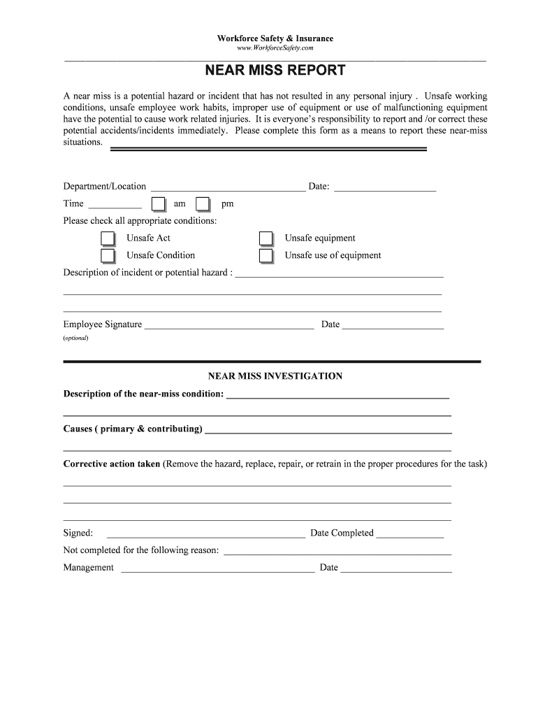 Near Miss Reporting Form  Fill Online Printable Fillable Blank Throughout Near Miss Incident Report Template
