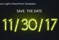Neon Lights Powerpoint Templates  Slidemodel inside Save The Date Powerpoint Template