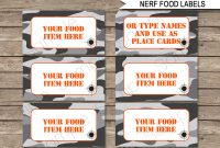 Nerf Party Food Labels Template – Gray Camo  Nerf Party Food  Nerf with regard to Food Label Template For Party