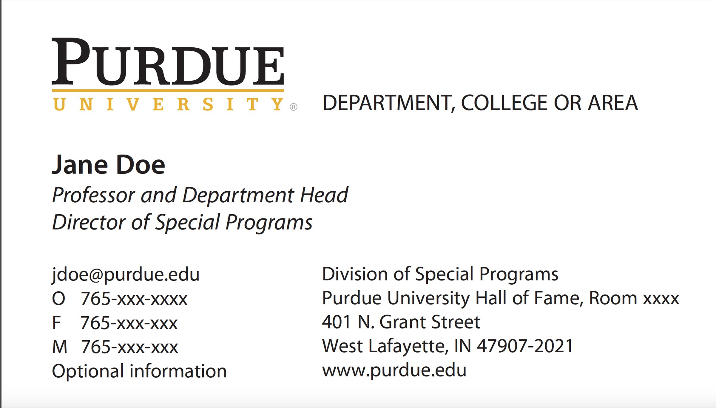 New Business Card Template Now Online  Purdue University News With Student Business Card Template