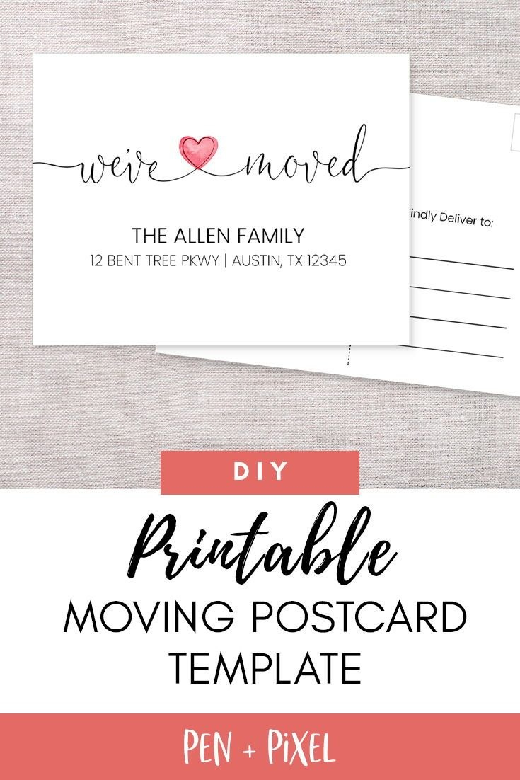 New Home Card Moving Announcement Moving Moving Postcard For Moving Home Cards Template