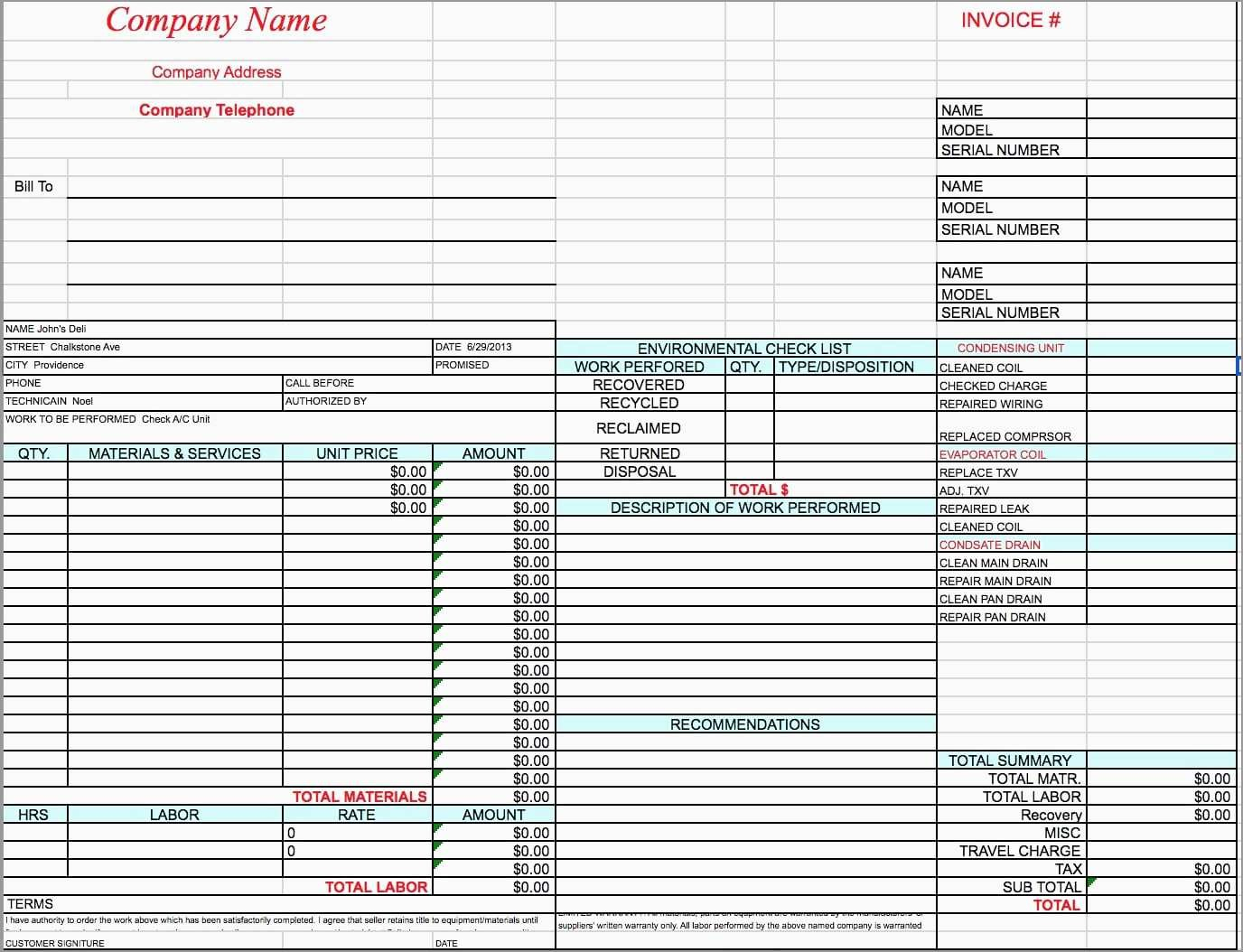 New Hvac Service Invoice Template Free  Best Of Template Within Hvac Service Invoice Template Free