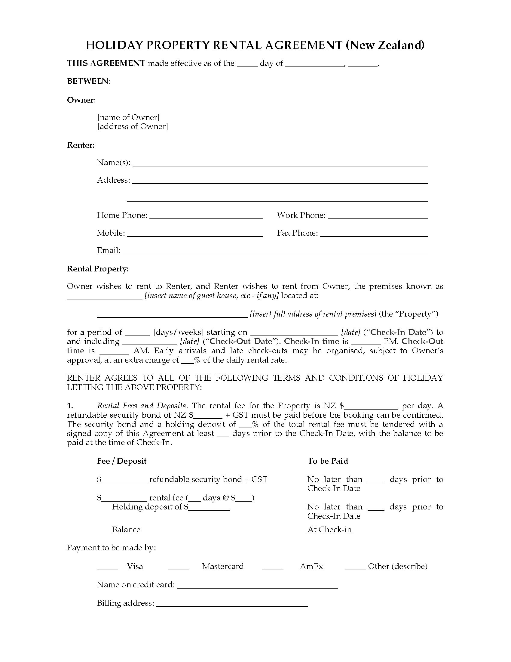 New Zealand Holiday Property Rental Agreement Inside Rental Agreement Template New Zealand