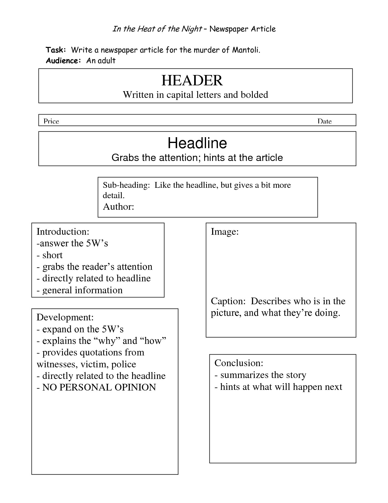Newspaper Report Writing Format  Educational Community For News Report Template