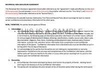 Nondisclosure Agreement Nda Template with Information Sharing Agreement Template