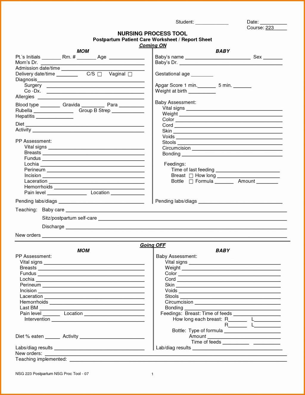 Nursing Assistant Port Sheet Templates Sample Psychiatric Template Throughout Nursing Assistant Report Sheet Templates