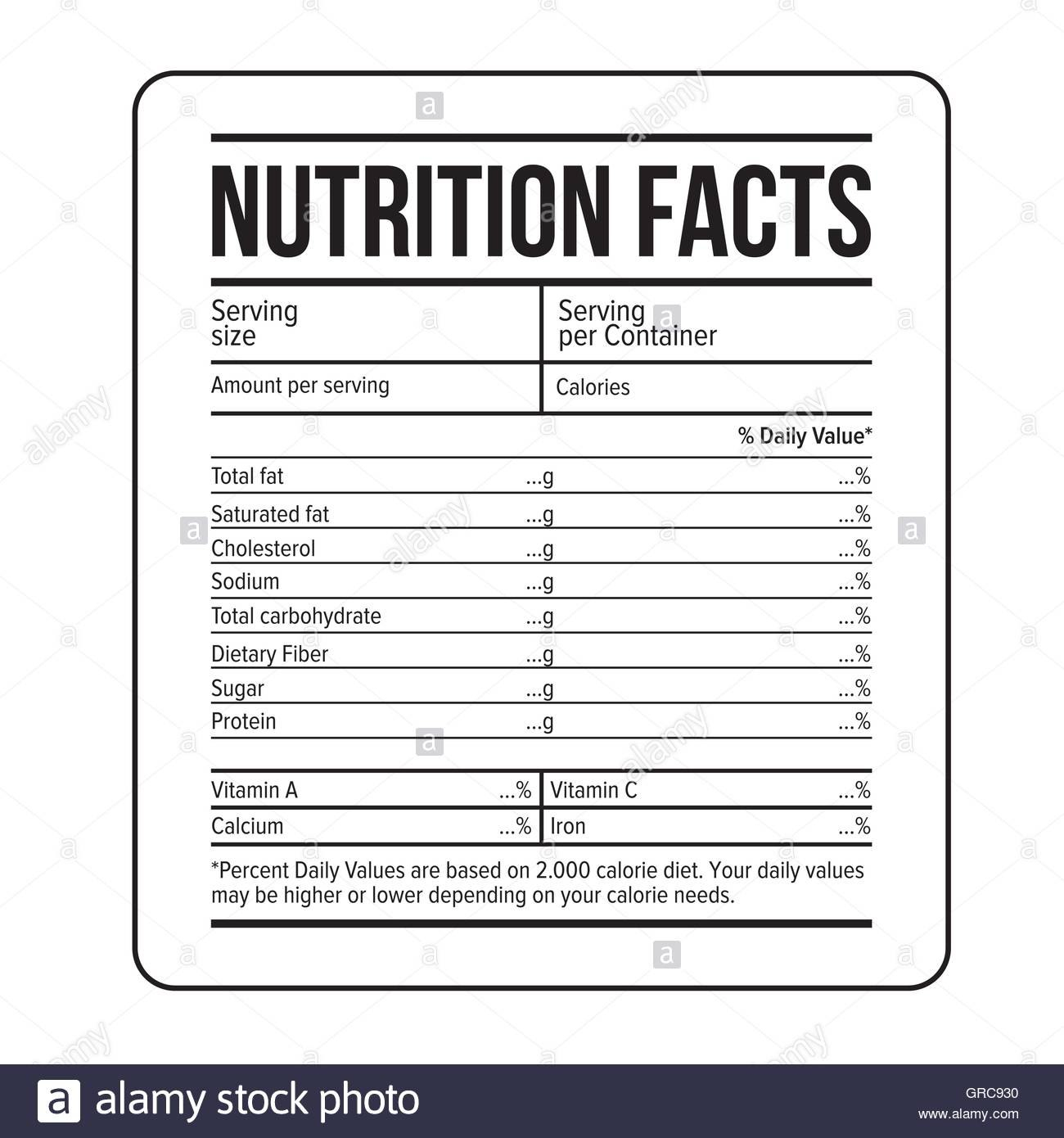 Nutritional Label Drink Black And White Stock Photos  Images  Alamy Throughout Ingredient Label Template