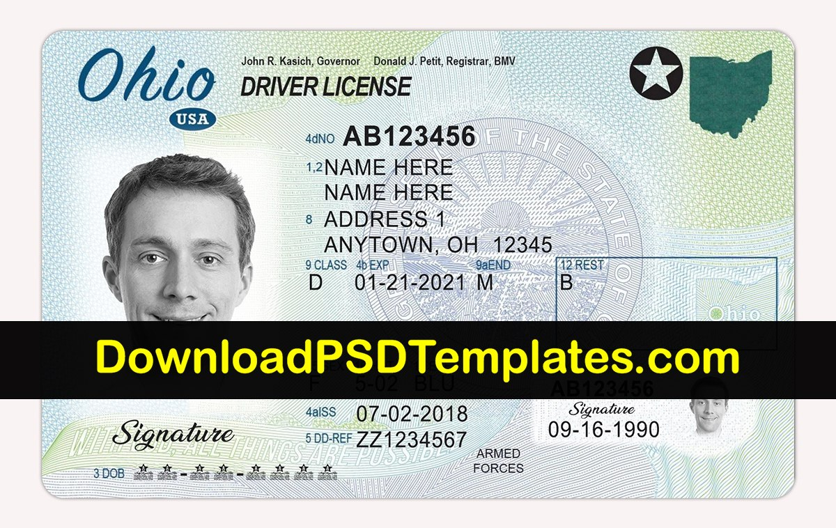 Ohio Driver License Psd  Oh Driving License Editable Template With Regard To Florida Id Card Template