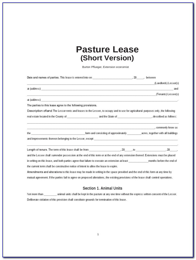 Oklahoma Pasture Lease Agreement Form  Form  Resume Examples Throughout Ranch Lease Agreement Template