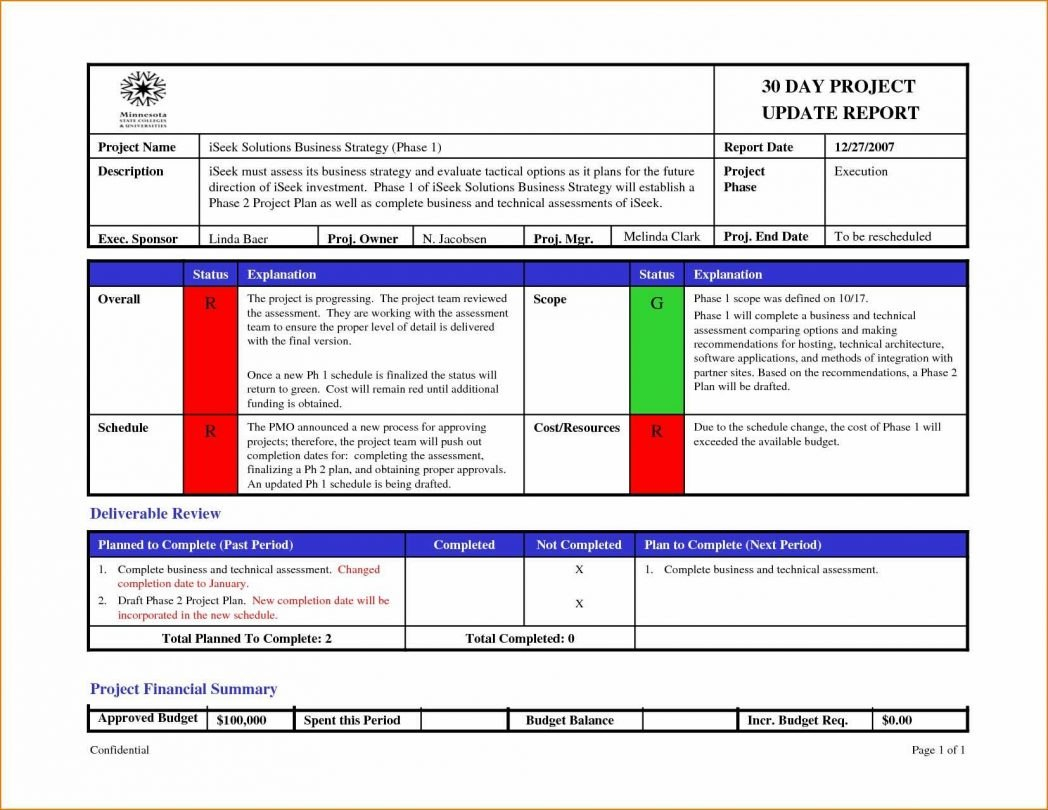 One Page Project Status Report Template Excel With Format Of Update Intended For One Page Status Report Template