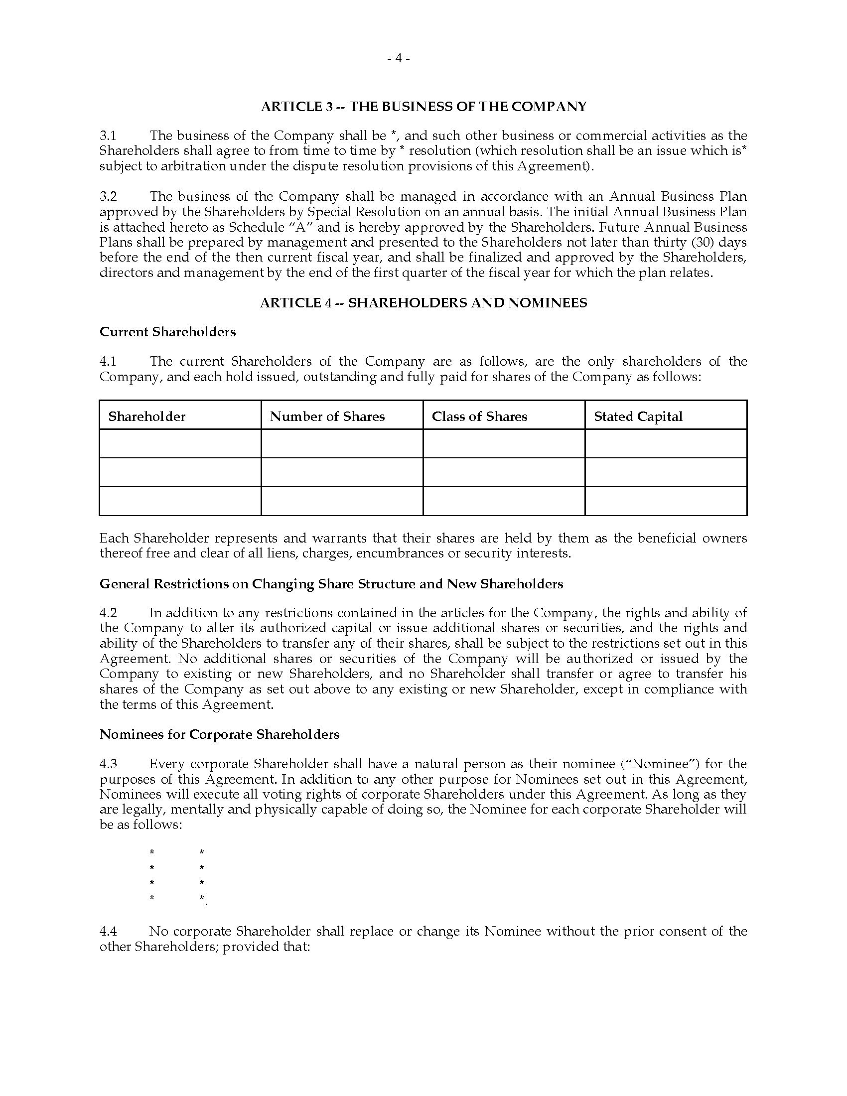 Ontario Unanimous Shareholders Agreement Between Shareholders And Within Nominee Shareholder Agreement Template
