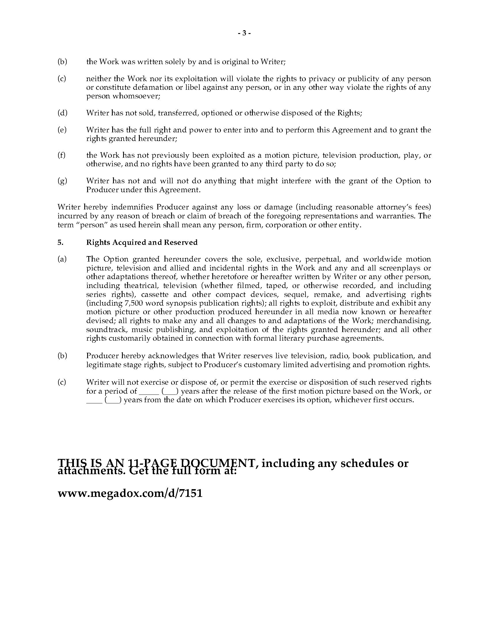 Option Agreement For Rights To Original Screenplay  Legal Forms And Intended For Screenplay Option Agreement Template