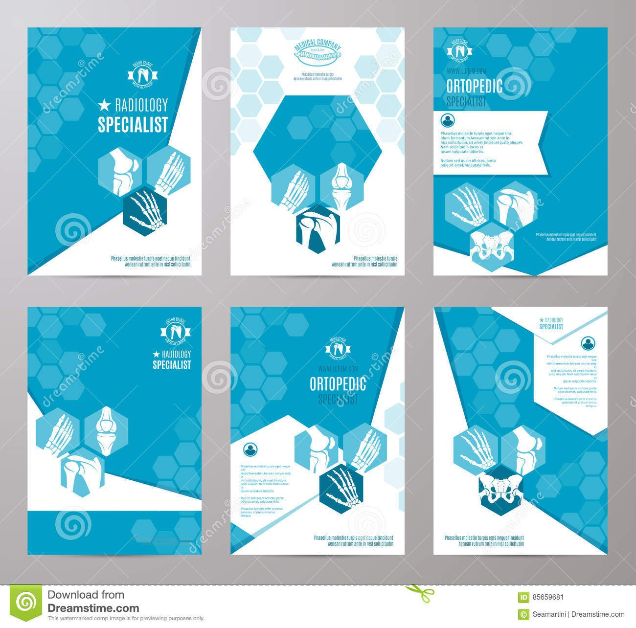 Orthopedics And Radiology Medicine Card Template Stock Vector For Medical Banner Template