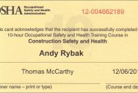 Osha  Hour Training Certificate New Osha  Certificate Template in Osha 10 Card Template