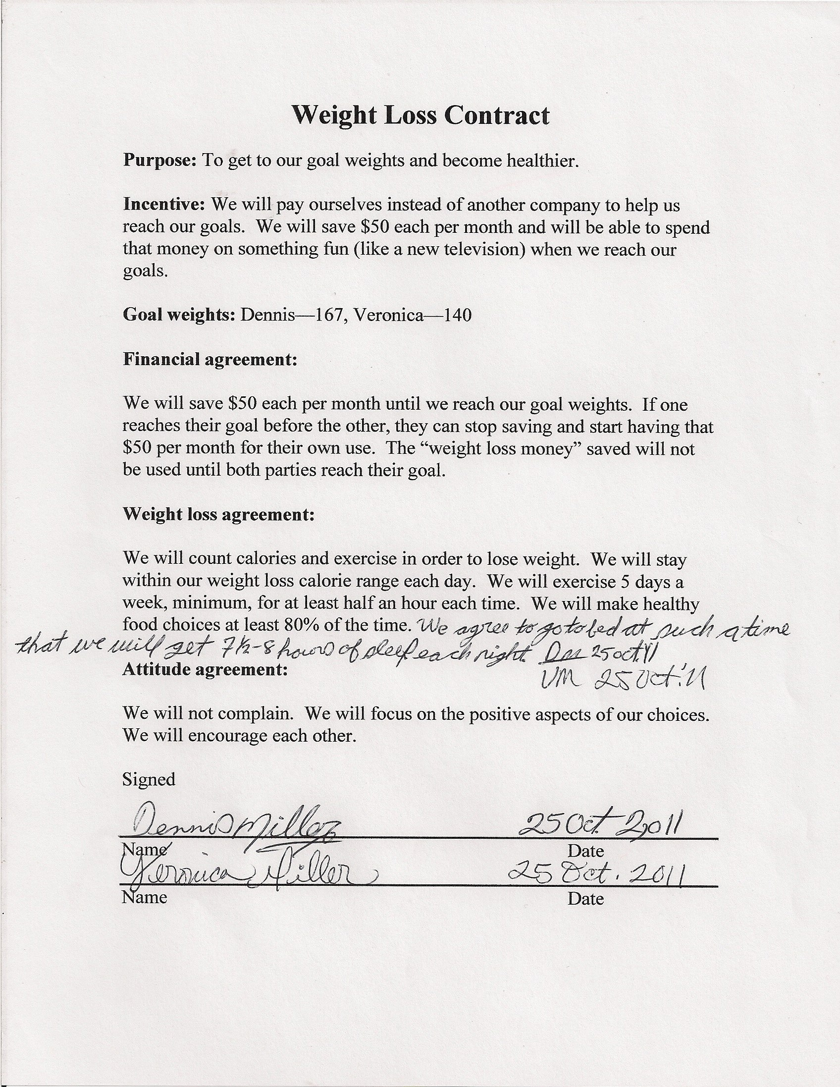 Our Weight Loss Contract  Veronica's Cornucopia Within Weight Loss Agreement Template