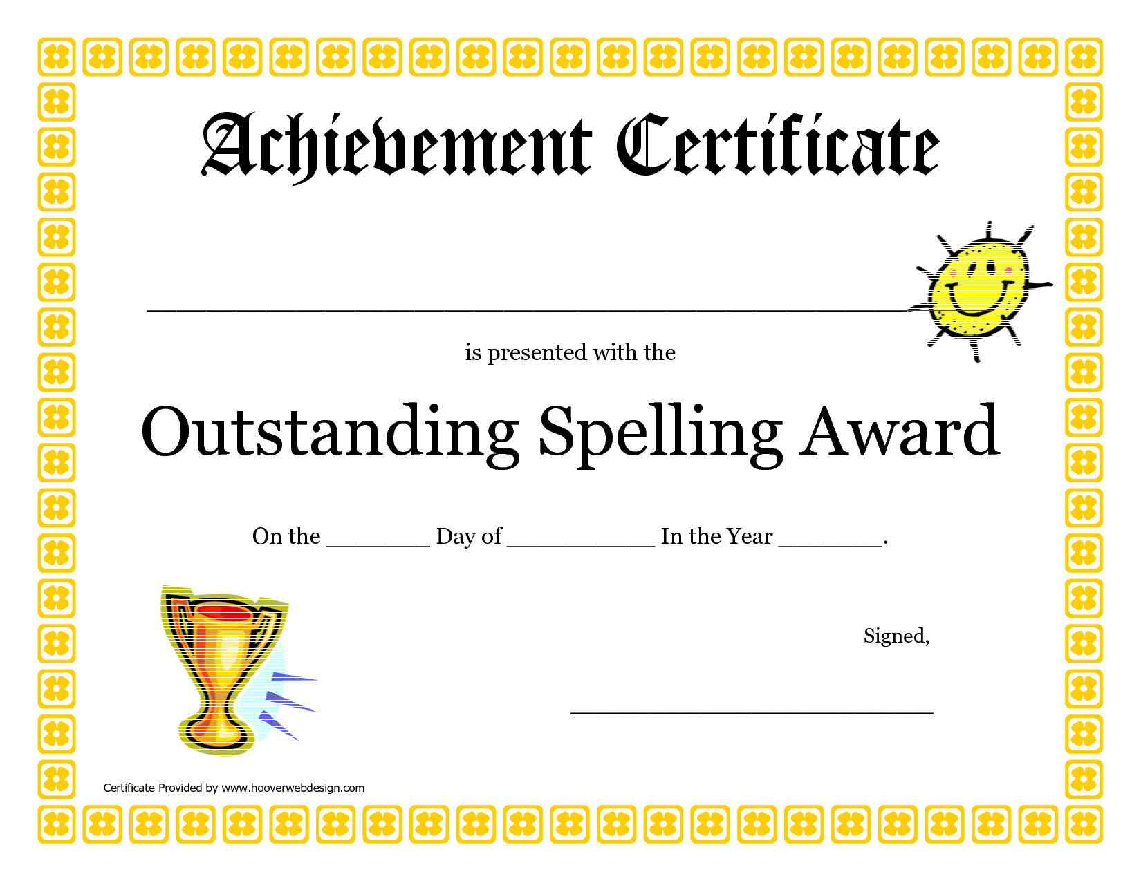 Outstanding Spelling Award Printable Certificate Pdf Picture  Pta For Spelling Bee Award Certificate Template