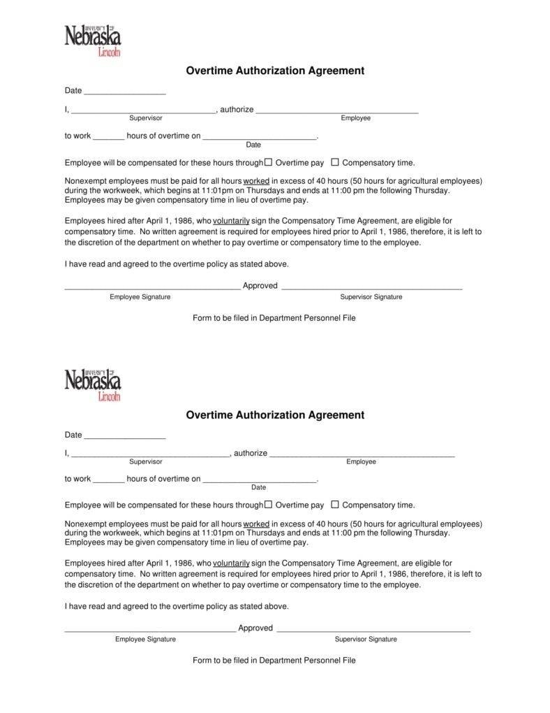 Overtime Authorization Forms  Templates  Pdf Doc  Free In Overtime Agreement Template