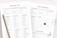 Packing List Blank Packing List Itinerary Template Trip  Etsy throughout Blank Packing List Template