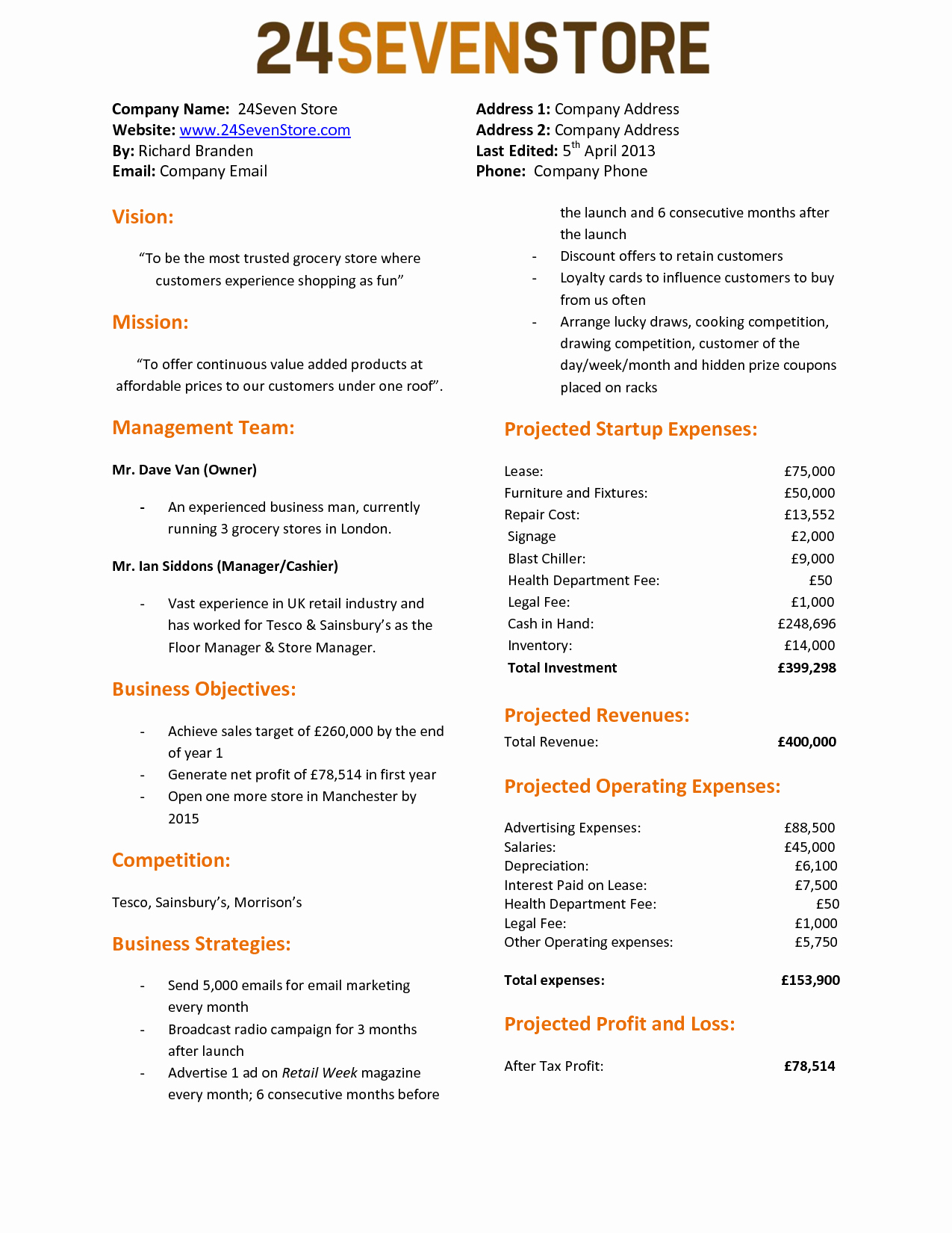 Page Business Plan For Template E   Guiaubuntupt Org Plans One Intended For 1 Page Business Plan Templates Free