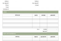 Parts And Labor Invoicing Format pertaining to Contract Labor Invoice Template