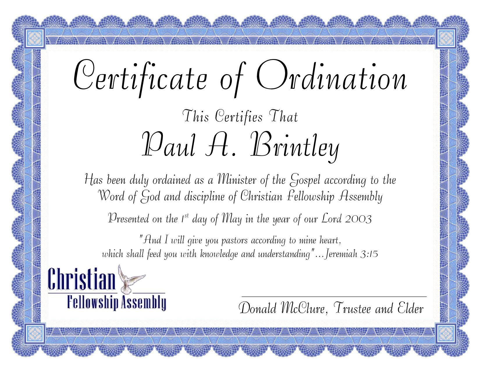 Pastoral Ordination Certificatepatricia Clay  Issuu With Regard To Certificate Of Ordination Template