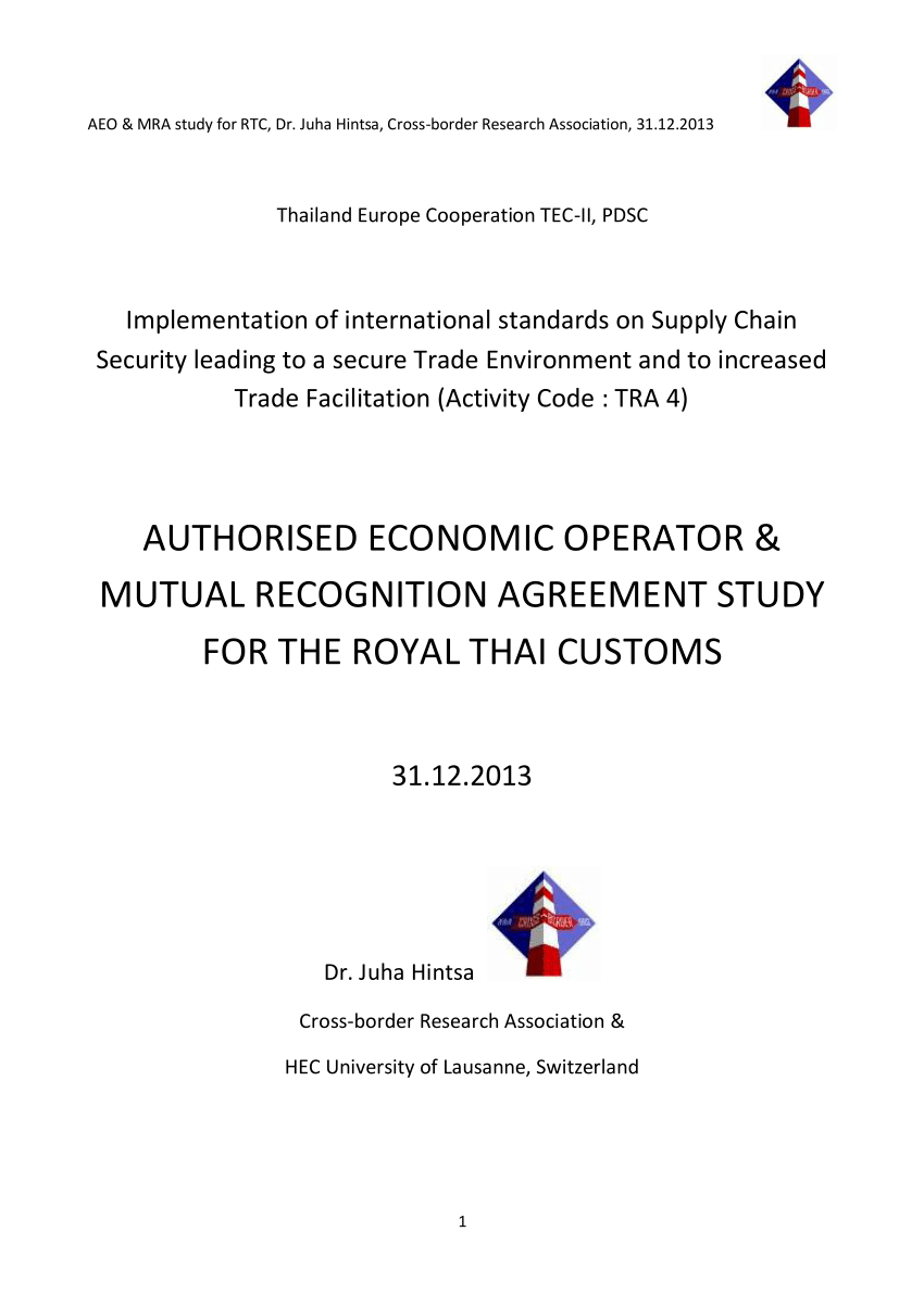 Pdf Authorised Economic Operator  Mutual Recognition Agreement Inside Trade Union Recognition Agreement Template
