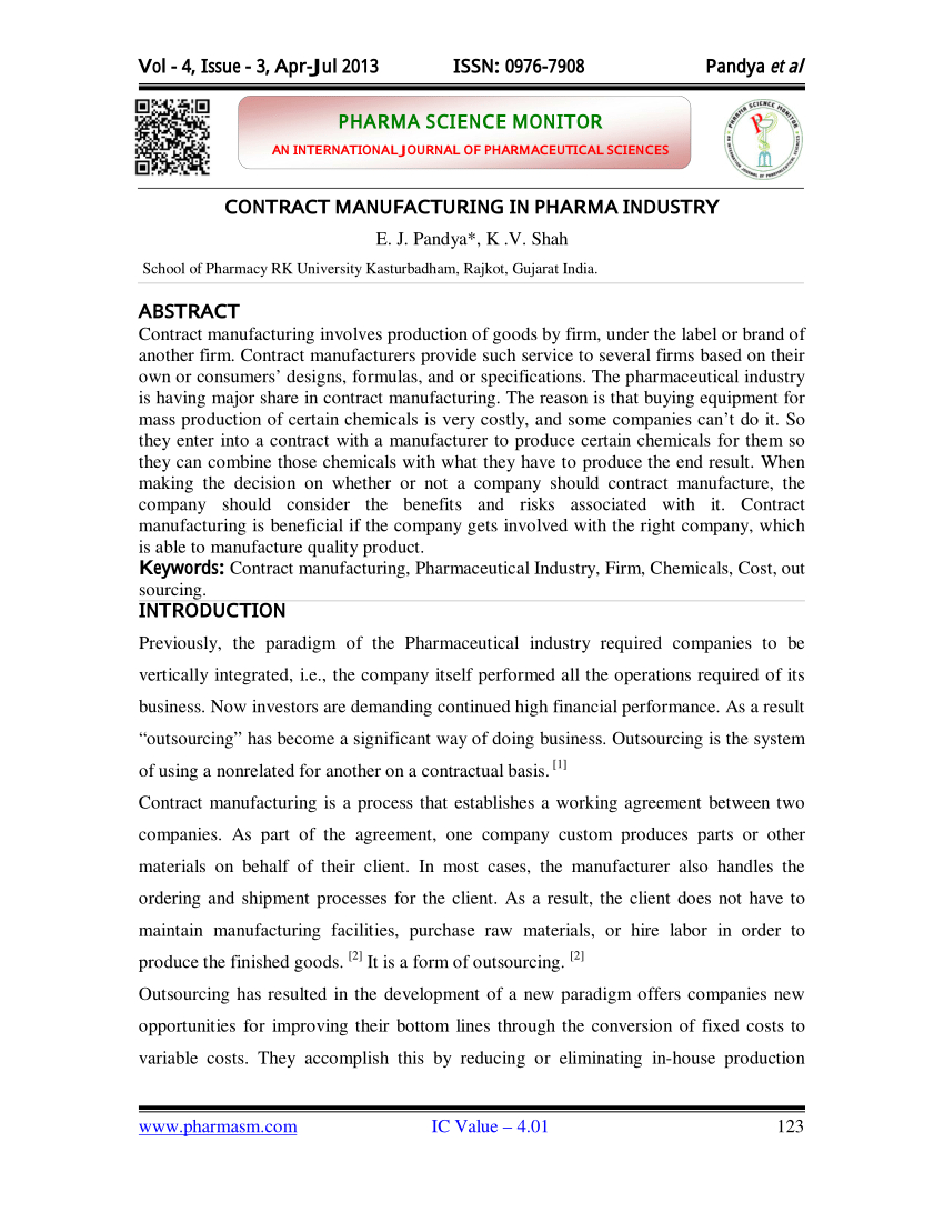 Pdf Contract Manufacturing In Pharma Industry In Toll Manufacturing Agreement Template
