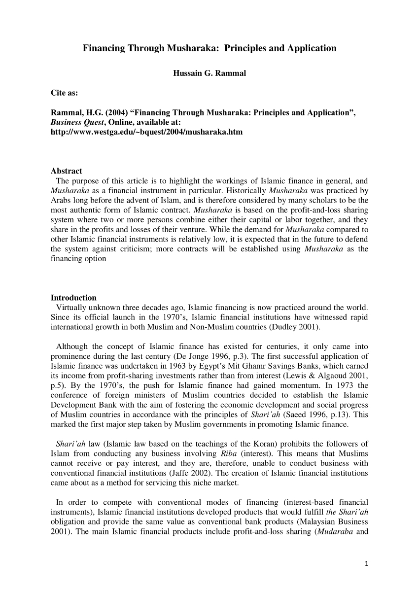 Pdf Financing Through Musharaka Principles And Application Throughout Islamic Loan Agreement Template