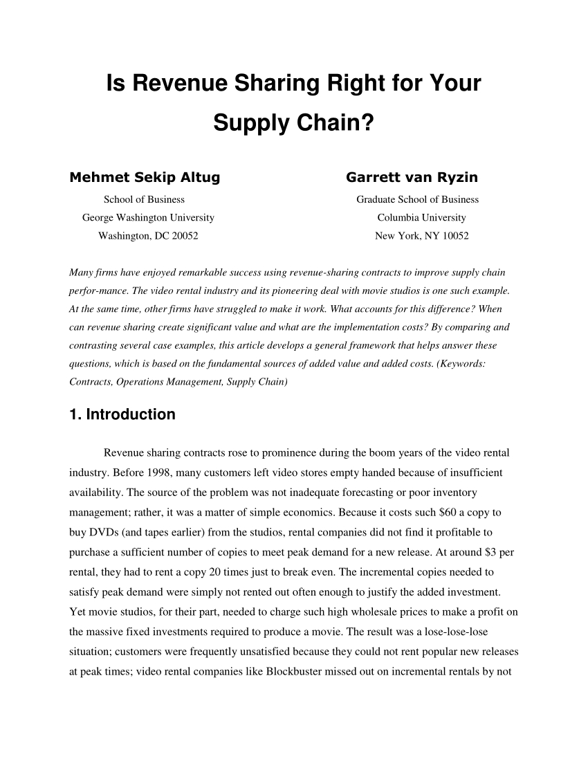 Pdf Is Revenue Sharing Right For Your Supply Chain Within Share Farming Agreement Template