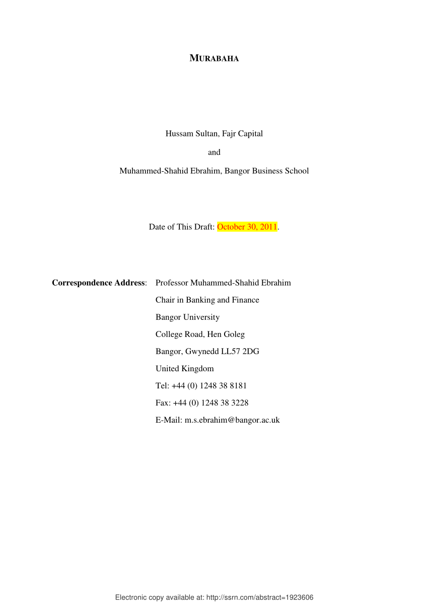 Pdf Murabaha With Murabaha Agreement Template
