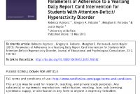 Pdf Parameters Of Adherence To A Yearlong Daily Report Card within Daily Report Card Template For Adhd